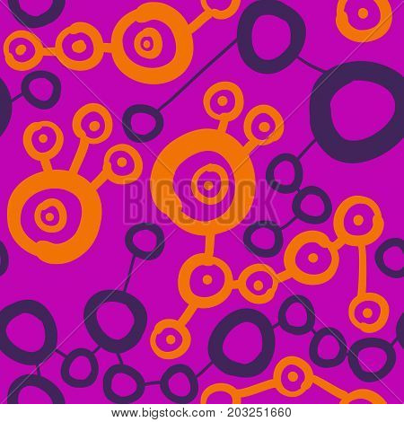 Connected spots pattern in violet and pink color. Seamless Wallpaper Pattern. Lines lead from one round spot to another.