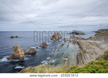 Cantabria Costa Quebrada amazing rock formations along the coastline