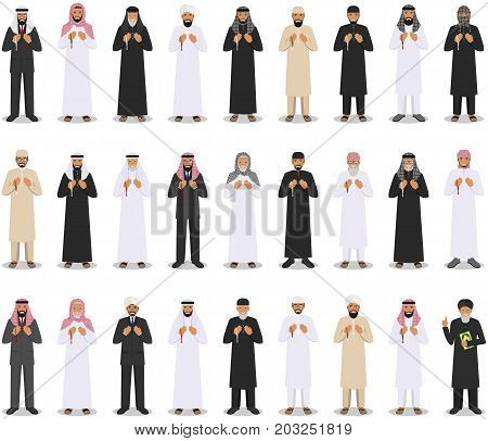 Set of different islamic people standing with beads in hands and pray. Mufti with quran. Muslim concept. Vector illustration.