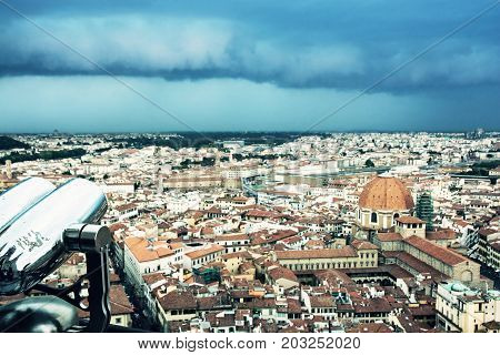 Storm over the Florence city Tuscany Italy. Cold photo filter.