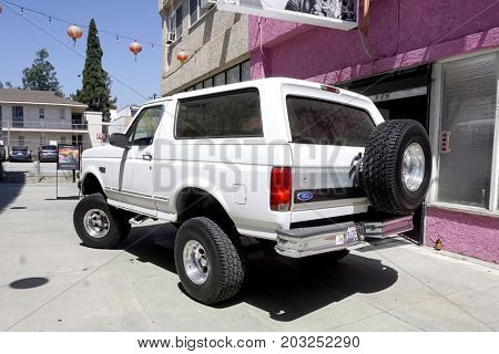 LOS ANGELES - AUG 17:  Bronco, model which OJ Simpson drove at the OJ Simpson Pop-up Museum  at the  Coagula Curatorial Gallery on August 17, 2017 in Los Angeles, CA