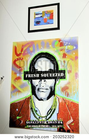 LOS ANGELES - AUG 17:  OJ Simpson car chase art at the OJ Simpson Pop-up Museum  at the  Coagula Curatorial Gallery on August 17, 2017 in Los Angeles, CA