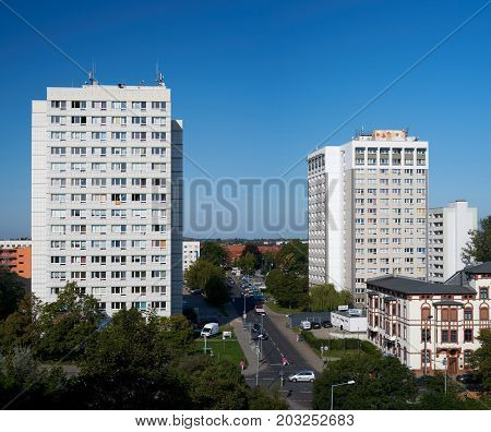 MAGDEBURG, GERMANY - AUGUST 28, 2017: City view of the district Reform in Magdeburg with two marked residential buildings
