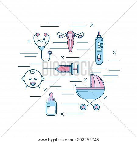 woman pregnancy to reproduction and fertilizacion process vector illustration