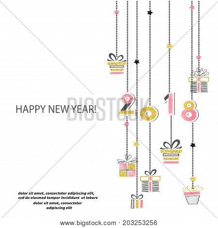Happy New Year 2018 vector illustration with place for text.