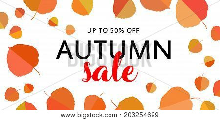 Autumn sale banner with autumn leaves on white background. Vector illustration with colorful autumn leaves. Bright banner for autumn sale with colorful fall leaves. Fall discount sale.