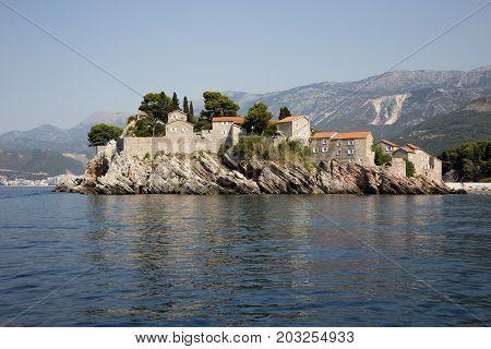 BUDVA, MONTENEGRO - AUGUST 07, 2017:Saint Stefan Island on the Adriatic Sea in Montenegro