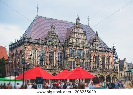 View Of Bremen Market Square With Town Hall, Roland Statue And Crowd Of People, Historical Center, G