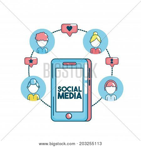 set social medio technology connection vector illustration