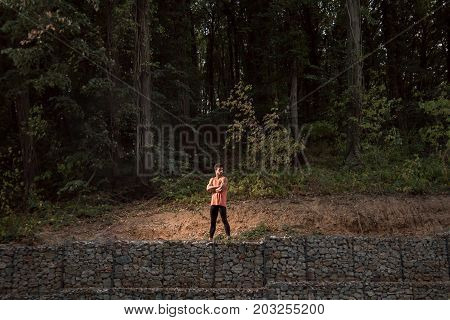 One Young Adult Man, Standing Posing, Wilderness, Jungle Portrait, Sport Clothes, Outdoors Nature Fo