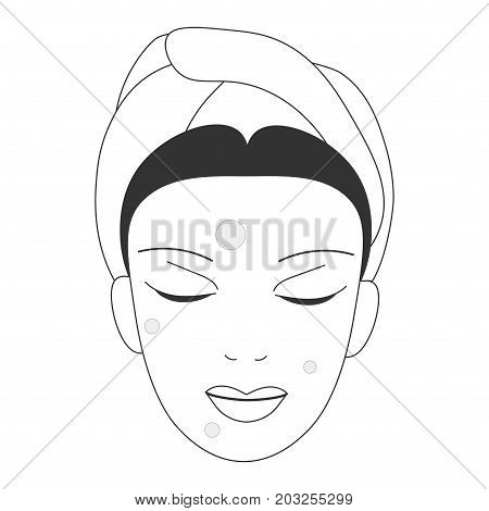 Vector icon illustration for anti-acne face skin care promotion: woman face with anti acne spot patches. Blemishes or pimples spot removers patches could be gel or hydrogel.
