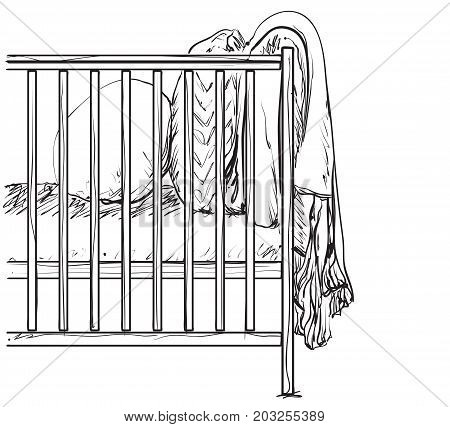 Sketch silhouette of baby crib vector illustration