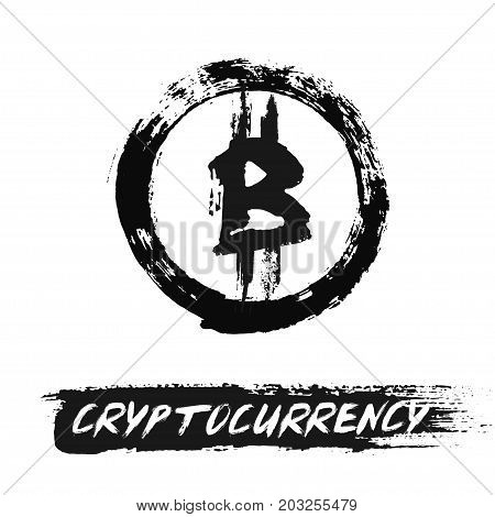 Bitcoin Icon. Blockchain technology. Cryptocurrency logo. Digital asset symbol. Virtual trading item. Grunge brush strokes altcoins. Painted Round Background. Distress texture vector illustration.