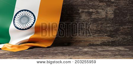 India flag on a wooden background. 3d illustration
