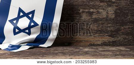 Israel flag on a wooden background. 3d illustration