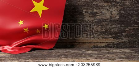 China flag on a wooden background. 3d illustration