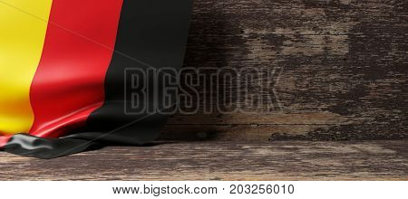 Germany flag on a wooden background. 3d illustration