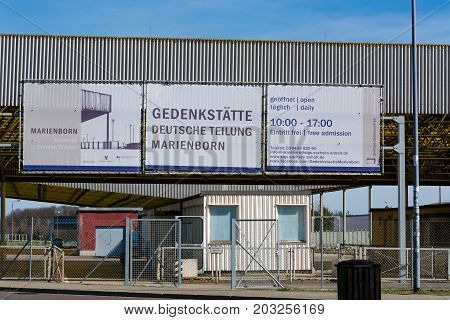 HELMSTEDT-MARIENBORN GERMANY - MARCH 25 2017: Historic border crossing museum between West and East Germany in Saxony-Anhalt.