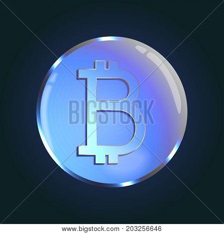 Bitcoin crypto currency, blue bubble design, vector illustration