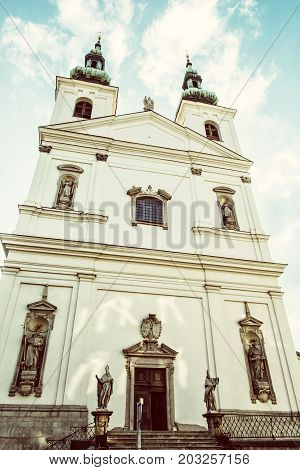 St. Michael church in Brno Moravia Czech republic. Religious architecture. Beauty photo filter.