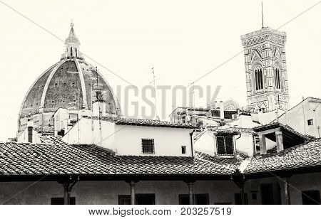 Cathedral Santa Maria del Fiore and Giotto's campanile in Florence Tuscany Italy. Black and white photo. Cultural heritage.