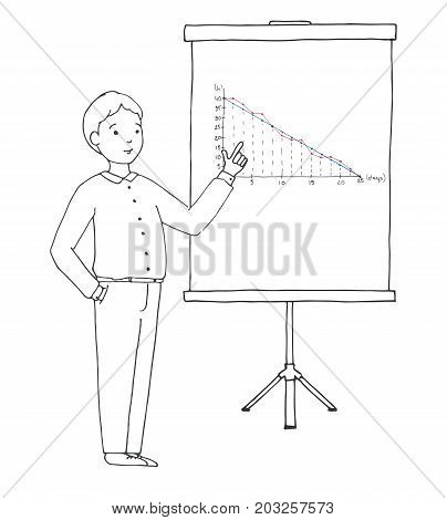 Young man in a suit in front of a whiteboard. On a whiteboard a graph. Vector illustration in a sketch style.