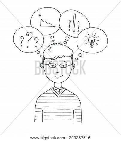 Young man with glasses. The guy with speech balloons with different symbols question mark graph bulb exclamation mark . Vector illustration in a sketch style.