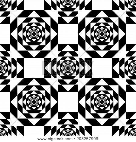 White Kaleidoscope Mirage on Black Background. Vector Illustration.