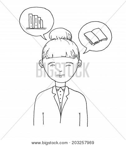 Young woman with speech balloons with books.Vector illustration in a sketch style.