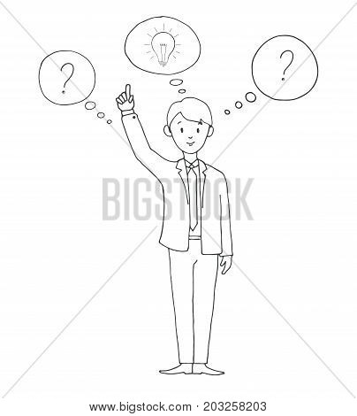 Young man in suit with speech balloons idea question mark . Vector illustration in a sketch style.