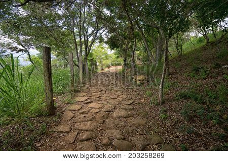 cobblestone path of the historical 'camino real' from Barichara to Guane