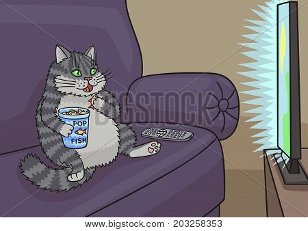 Cat sat down on the couch and watching a TV show.