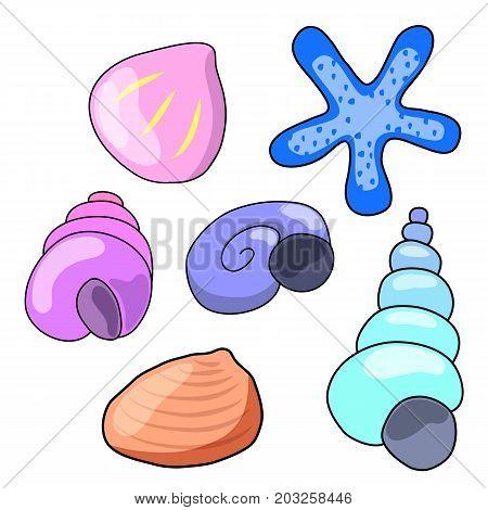 Seashells and starfish isolated on white background. Sea shell cartoon vector illustration. Underwater decor element. Sea shell in nursery style. Shell clipart. Marine fauna logo. Aquarium seashell