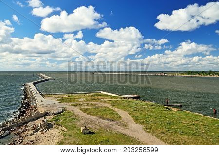 South pier protective coastal fortification. Baltiysk Kaliningrad oblast Russia
