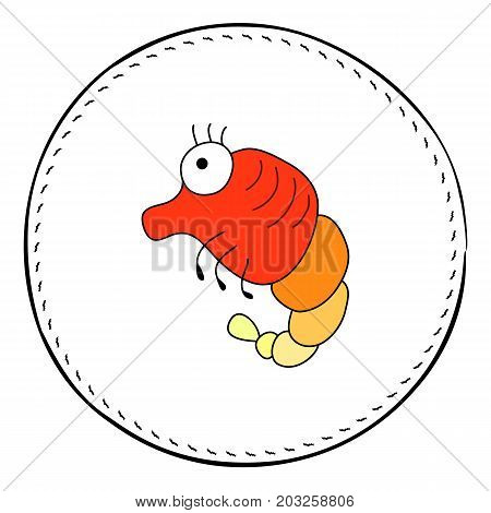 Red shrimp isolated on white background. Cute prawn cartoon vector illustration. Underwater animal handdrawn patch. Aquarium clayfish drawing. Sea animal clipart. Marine fauna character. Seafood icon