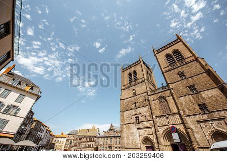 View on the saint Flour cathedral in Cantal region of France