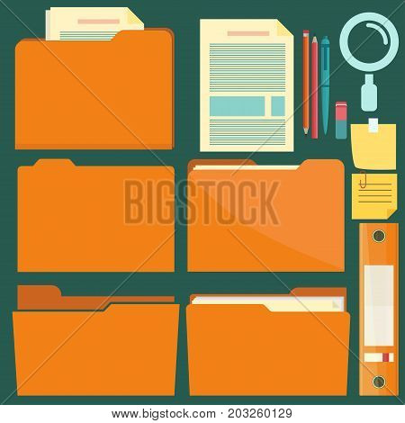 Folders with pen, pencil and note reminder sticker, documents folder set with magnifying glass, paper sheets. Vector office document icon