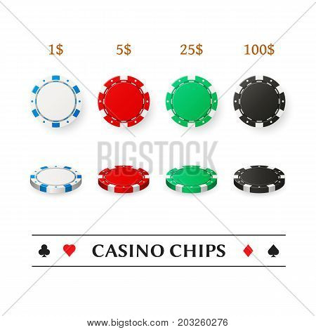 Casino plastic chips set, isolated on white. Poker gambling. Realistic 3d vector design elements for mobile apps.