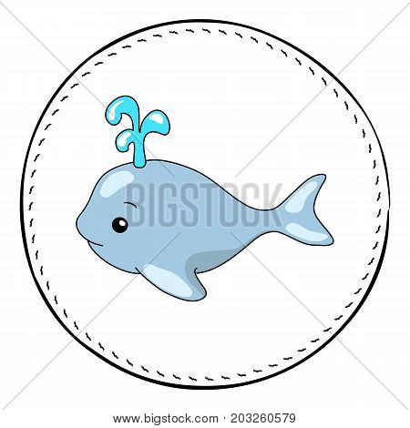 Whale isolated on white background. Cute whale with water fountain. Marine cartoon vector illustration. Underwater animal handdrawn patch. Whale drawing. Nursery clip art with tropical sea animal