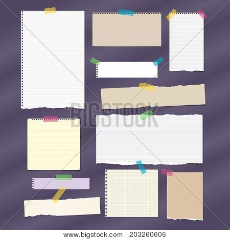 Torn ruled note, notebook, copybook paper strips, sheets stuck with sticky tape on dark purple background