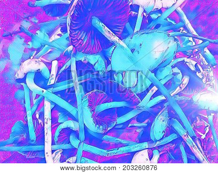 Magic mushroom blue colored digital illustration. Mushroom with thin stipe and wide pileus. Shroom hallucination. Non-edible mushrooms with hallucinogen effect. Toadstool mushroom pile fantastic image