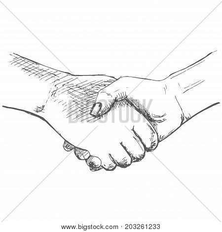 Two hands handshake. Illustration in sketch style. Hand drawn vector illustrations.