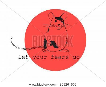 Let your fears go. Inspirational quote. Vector hand lettering illustration. Sketch style doodle art. Mouse with gun on red circle background.