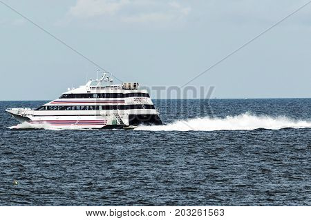 New London Connecticut USA - 27 July 2017: The SEA JET is a high-speed passenger-only service crossing between New London CT and Orient Point NY in just 40 minutes. Making it easy to get to the casino's.