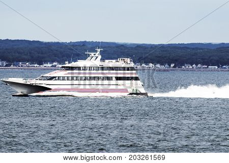 New London Connecticut USA - 27 July 2017: The SEA JET is a high-speed passenger-only service crossing between New London CT and Orient Point NY in just 40 minutes. Making it easy to get ot the casino's.