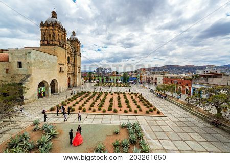 OAXACA MEXICO - MARCH 4: Activity in the plaza in front of Santo Domingo church in Oaxaca Mexico on March 4 2017