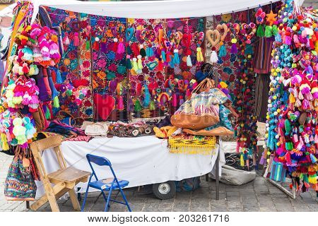 OAXACA MEXICO - MARCH 4: Small stand selling souvenirs in Oaxaca Mexico on March 4 2017