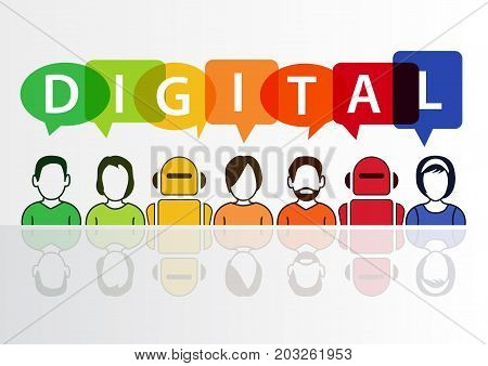 Digital and digitization conceptual background. Vector illustration of colorful group of people and robots