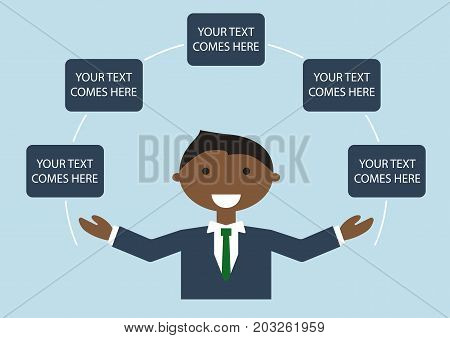 Vector illustration of happy dark skin business man in suite spreading his arms. Infographic template with text