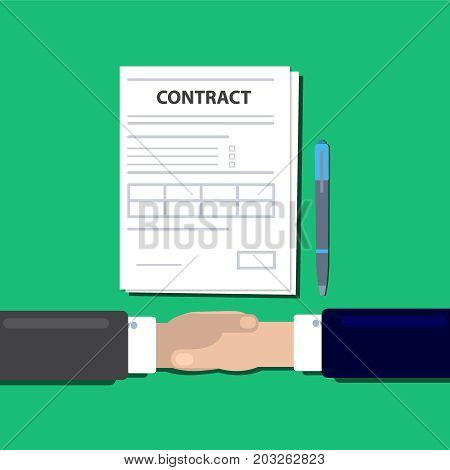 Businessmen handshake concept of agreeing to sign contract. Trendy flat design with shadow top view. Vector Illsutration